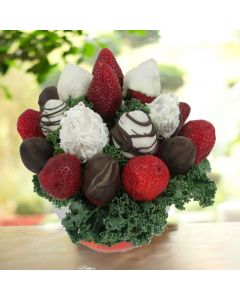 Chocolate Dipped Strawberries in a Ceramic Bowl