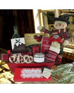 A Traditional Christmas Gift Basket, with Spirits
