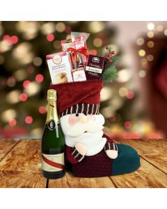 Santa's Stocking Gift Set With Champagne