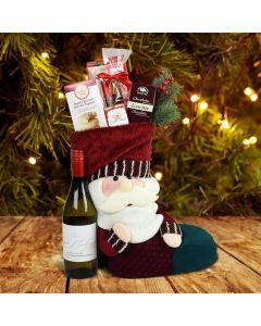 Santa's Stocking Gift Set With Wine