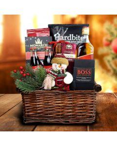 Snowman Delights Liquor Gift Basket