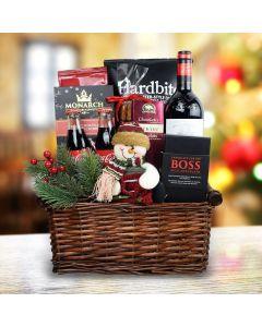 Snowman Delights Wine Gift Basket