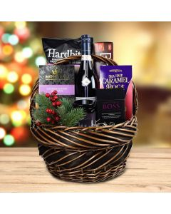 The Winter Treats Gift Basket With Wine