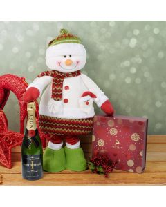 Christmas Chocolate & Tall Snowman Set with Champagne, champagne gift baskets, gourmet gifts, gifts