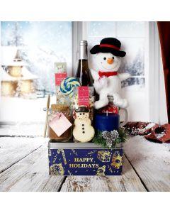 Frosty Wine & Treats Gift Basket, Christmas gift baskets, wine gift baskets, gourmet gift baskets