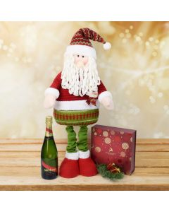 Christmas Chocolate & Tall Santa Set with Champagne, champagne gift baskets, gourmet gifts, gifts