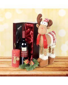 Holly Jolly Reindeer Gift Set, wine gift baskets, gourmet gifts, gifts