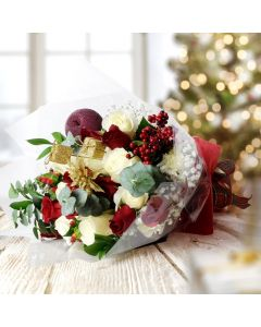 Holiday Rose Bouquet, Christmas gift baskets, floral gift baskets