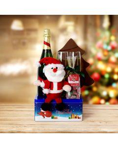 Santa's Chocolate & Champagne Gift Basket, champagne gift baskets, Christmas gift baskets