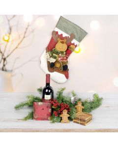 Decadent Reindeer Stocking Gift Set, wine gift baskets, gourmet gifts, gifts