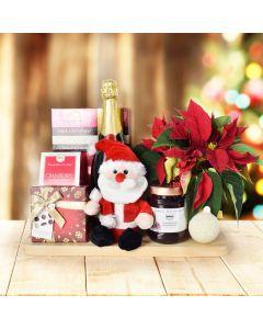 Santa's Champagne Celebration Basket, champagne gift baskets, Christmas gift baskets