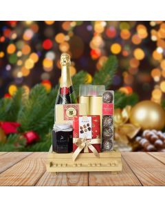 Holiday Champagne & Chocolate Celebration, champagne gift baskets, Christmas gift baskets