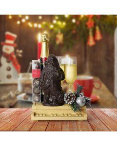 Santa's Champagne & Chocolate Celebration, champagne gift baskets, Christmas gift baskets