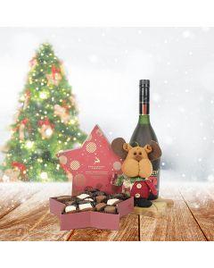 Snowy Christmas Reindeer Set, liquor gift baskets, Christmas gift baskets, gourmet gift baskets