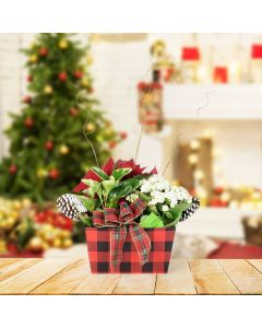 Christmas Flower Basket, floral gift baskets, plant gift baskets