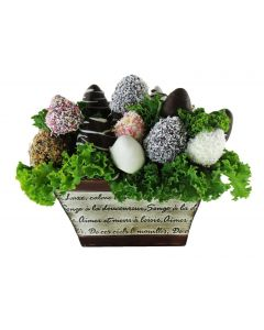 Chocolate Dipped Strawberries in a French Tin Planter